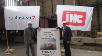 Keel laying ceremony takes place for newly named Subsea 7 reel-lay vessel