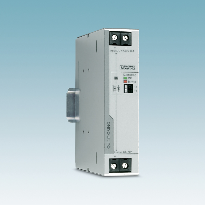 Using preventive function monitoring, the redundancy module informs you about the output voltages of the power supplies, defects in the wiring and the decoupling section, as well as the actual load current.