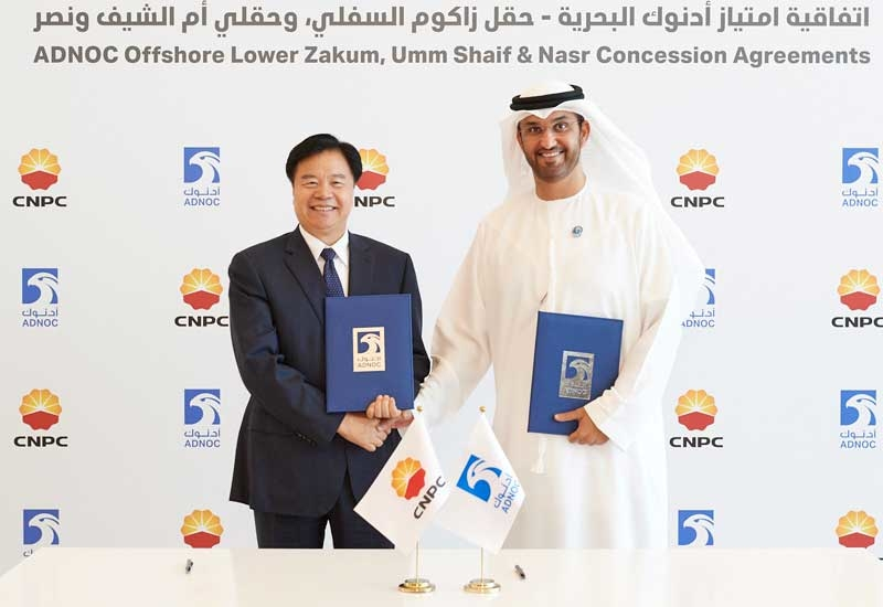 The agreements between ADNOC and CNPC were signed by Dr Sultan Ahmed Al Jaber (right), ADNOC Group CEO, and Wang Yilin, CNPC Chairman.