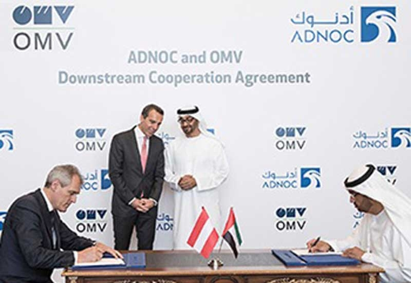 Dr Sultan Ahmed Al Jaber (right), the UAE Minister of State and group CEO, ADNOC, and Dr Rainer Seele, CEO, OMV, at a previous contract signing.