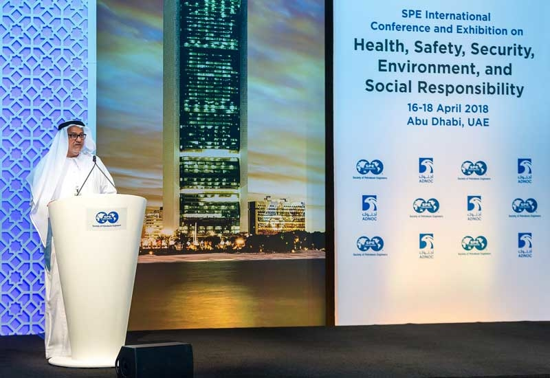 Abdulmunim Al Kindi, upstream director at ADNOC, delivers the keynote address at the 2018 SPE International Conference and Exhibition on Health, Safety, Security, Environment and Social Responsibility, being held in Abu Dhabi.