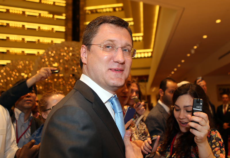 Russian Oil Minister Alexander Novak at the meeting in Doha on April 17, 2016.