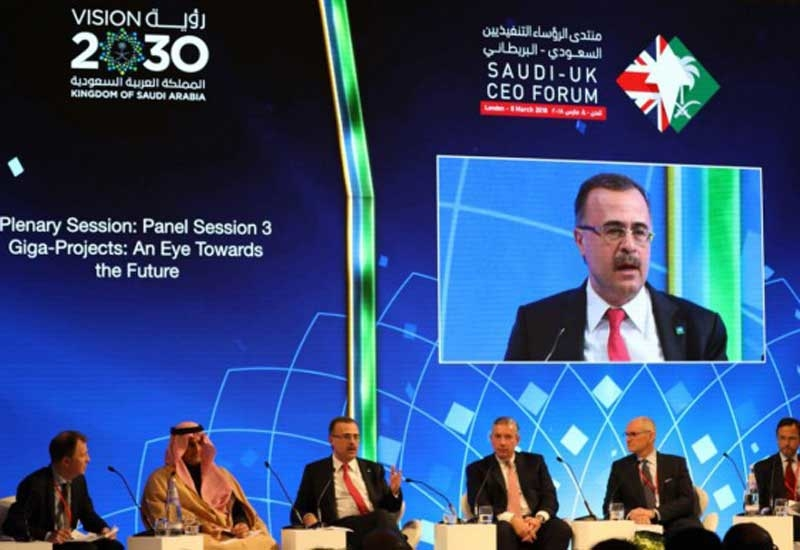 Amin H Al-Nasser (third from left), president and CEO, Saudi Aramco, speaks at the Saudi-UK CEO Forum held in London.
