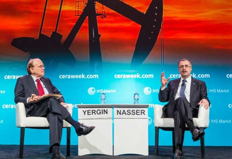Amin H Nasser (right), president and CEO, Saudi Aramco, discusses the future of oil with Daniel Yergin, vice chairman, IHS Markit, at CERAWeek in Houston, Texas.