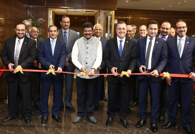 From left to right in the front row: Abdulaziz Judaimi, senior vice president, downstream, Saudi Aramco; HE Saud Alsati, Saudi Ambassador to India; Dharmendra Pradhan, Indias minister of petroleum and natural gas; Amin Nasser, president & CEO, Saudi Aramco; Said Hadrami, vice president, international operations, Saudi Aramco; and Nabil Nuaim, president, Aramco Asia.