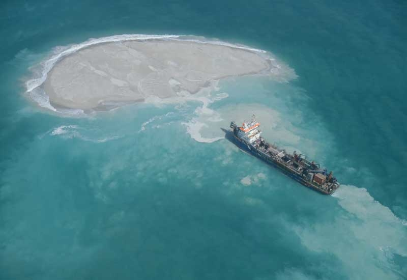 Artificial islands have been built in the shallows above the Upper Zakum oil field offshore Abu Dhabi.