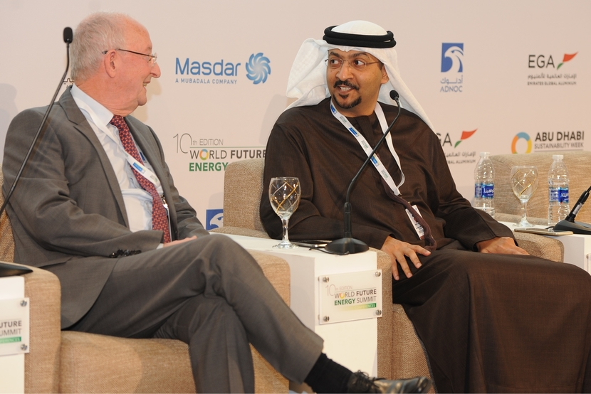 John Scowcroft (left), executive advisor, Europe, Middle East and Africa, the Global Carbon Capture and Storage Institute, and Arafat Al Yafei, CEO, Al Reyadah, at the World Future Energy Summit 2017 in Abu Dhabi.