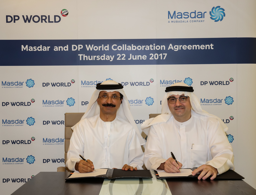 Sultan Ahmed Bin Sulayem (left), chairman and CEO, DP World Group, and Mohamed Jameel Al Ramahi, CEO, Masdar, at the signing ceremony.