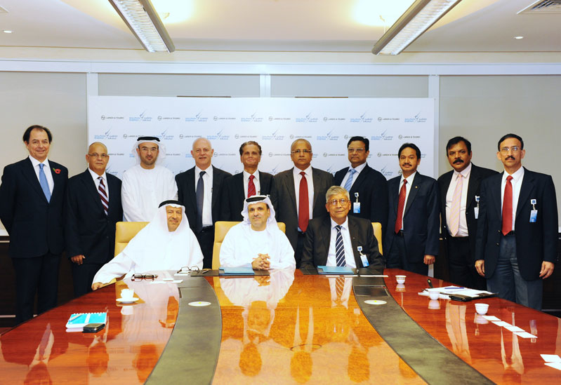 Dolphin Energy's General Managers in the UAE and Qatar, Ibrahim Ahmed Al Ansaari, Mr Adel Ahmed Albuainain are pictured with Larsen & Toubro's CEO and