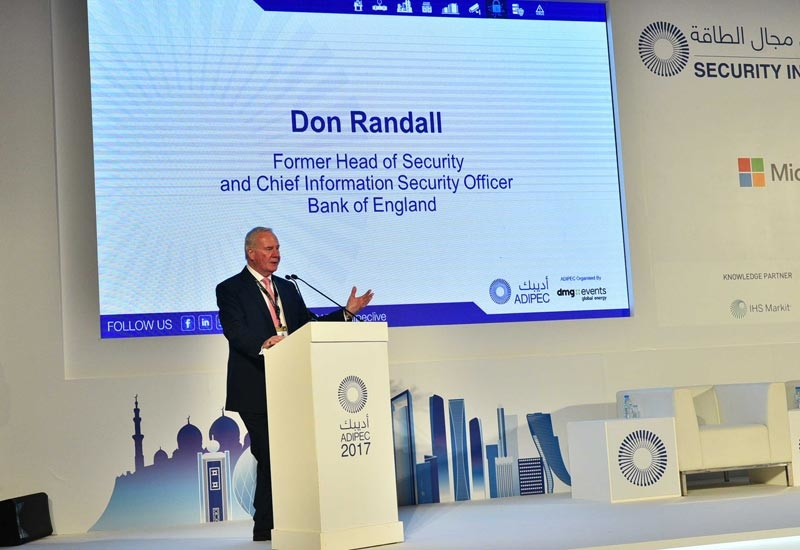 Don Randall, former head of security and chief information security officer at the Bank of England, delivers keynote address at the Security in Energy conference, co-located within ADIPEC 2017 in Abu Dhabi.