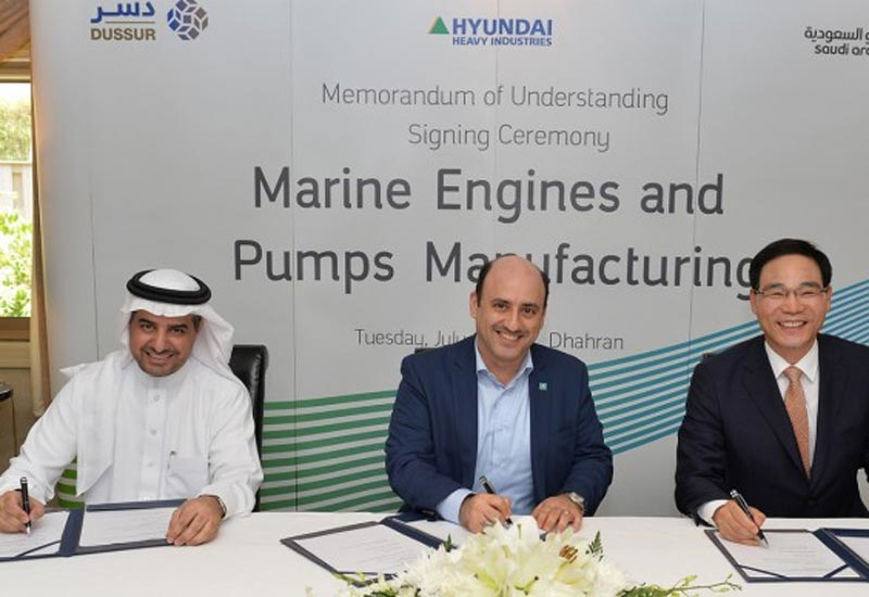 Rasheed Al Shubaili, CEO, Dussur (left), Zaid Murshed, vice president, new business development, Saudi Aramco (centre), and Kidon Chang, CEO, engine business, Hyundai Heavy Industries, during the signing of the MoU.