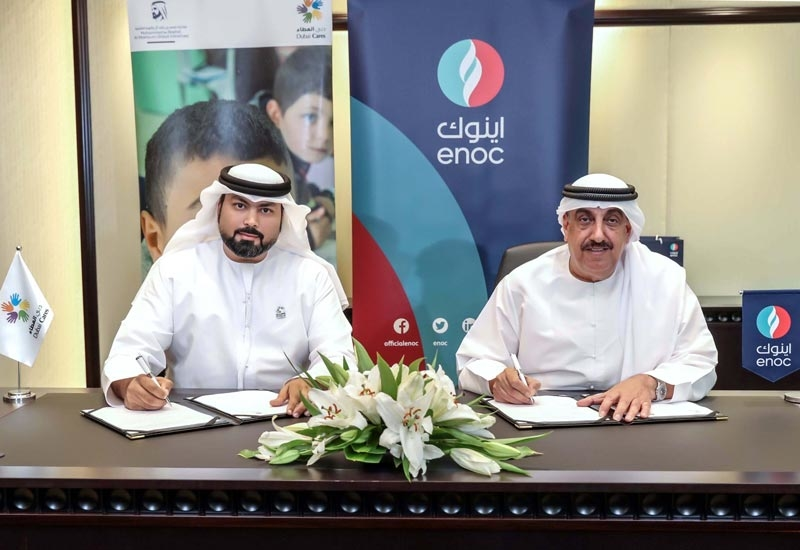 The MoU was signed at ENOC's headquarters by HE Saif Humaid Al Falasi (right), group CEO, ENOC, and Abdulla Al Shehhi, director of business support department, Dubai Cares.