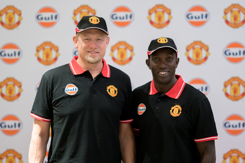 Peter Schmeichel (left) and Dwight Yorke of Manchester United at the launch of Gulf Formula ULE 5W-40 – an advanced performance synthetic engine oil for SUVs from Gulf Oil Middle East – in Dubai.