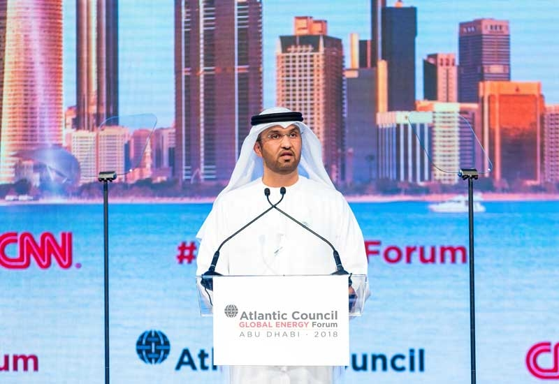 HE Dr Sultan Ahmed Al Jaber, UAE minister of state and ADNOC Group CEO, speaking at the second Atlantic Council Global Energy Forum in Abu Dhabi.
