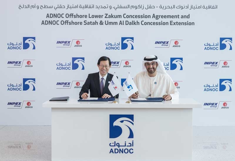The agreement was signed by Dr Sultan Ahmed Al Jaber (right), ADNOC Group CEO and member of Abu Dhabi's Supreme Petroleum Council, and Toshiaki Kitamura, president and CEO, INPEX.