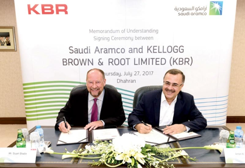 Amin Nasser (right), president and CEO, Saudi Aramco, and Stuart Bradie, president and CEO, KBR, signed the MoU.