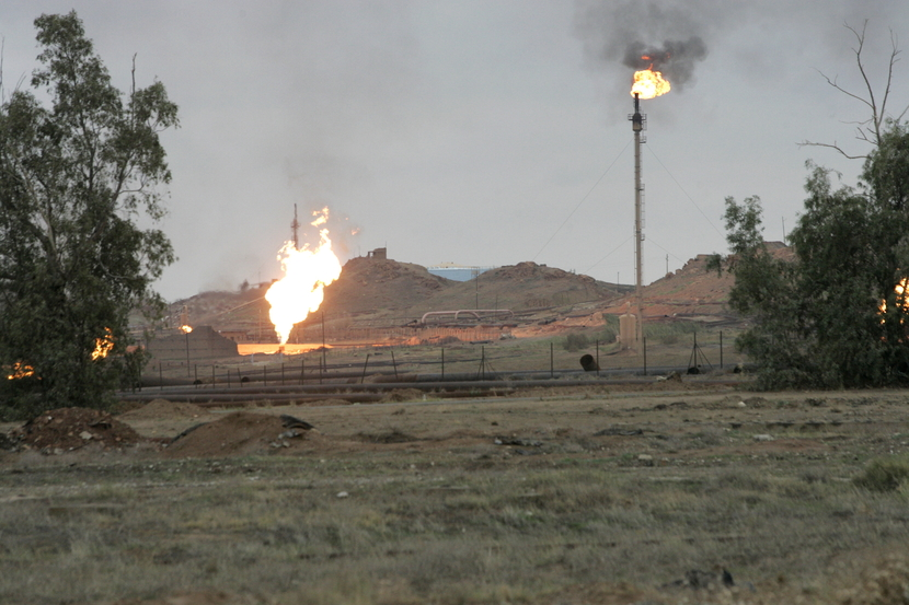 Flares at Kirkuk near the start of the pipeline to Ceyhan. The explosions follow a decision by the KRG to discontinue exports via the pipeline. GETTY