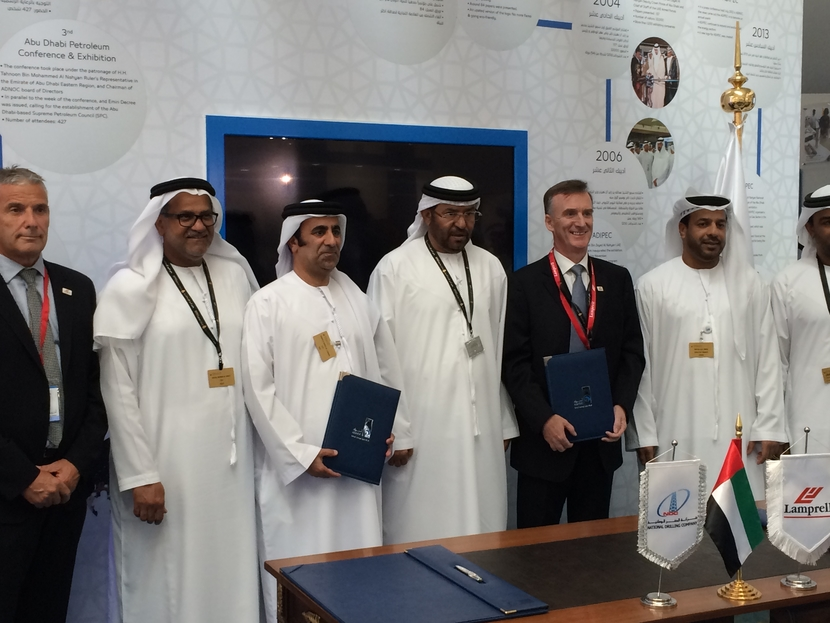 NDC Chief Executive Officer Mr. Abdalla Saeed Al Suwaidi and Lamprell Chief Executive Officer, Jim Moffat after the signing of the two further high sp