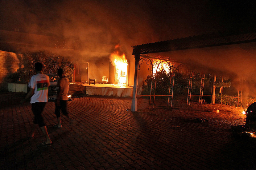 The US Consular compound burns in Benghazi late on September 11, 2012. An armed mob attacked the compound. GETTY IMAGES