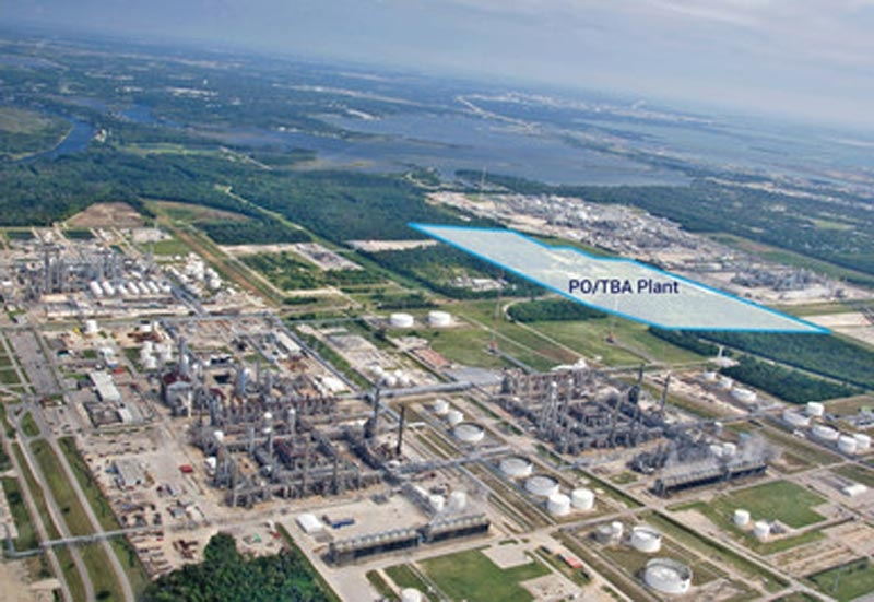The plant upon completion will produce 470,000 metric tons of propylene oxide and one million metric tons of tertiary butyl alcohol annually.