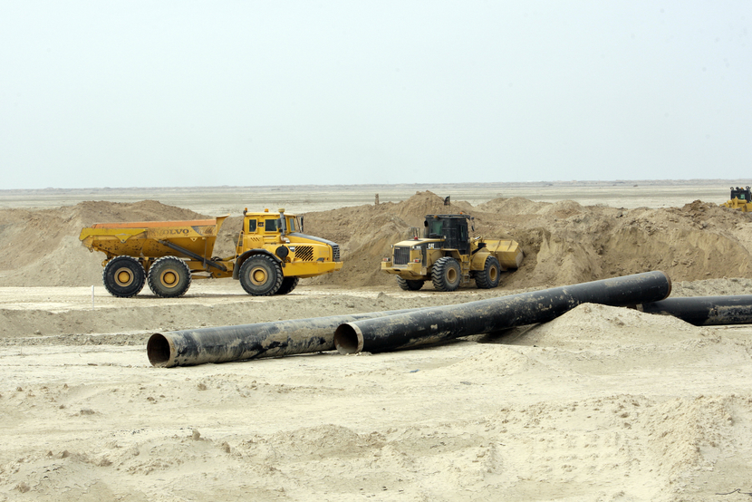 Ordnance clearing at the Majnoon field continues, using heavy bulldozing equipment. GETTY IMAGES