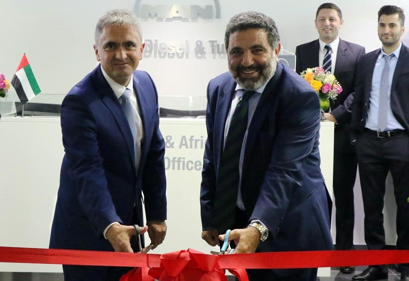 Dr Uwe Lauber (left), CEO, and Gaby Hanna, vice president, Middle East and Africa, MAN Diesel & Turbo, inaugurate the company's Dubai Maritime City office.