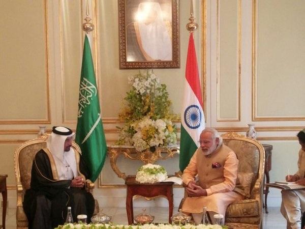 Indian Prime Minister Narendra Modi with Saudi Aramco chairman Khalid Al Falih in Riyadh on April 3.