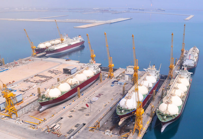 Six of the seven LNG carriers currently undergoinf drydock maintenance at the Nakilat-Keppel Offshore & Marine facility near Ras Laffan in Qatar.