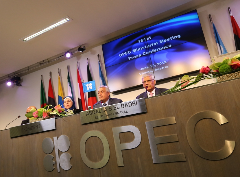 A file photo of an OPEC press conference.
