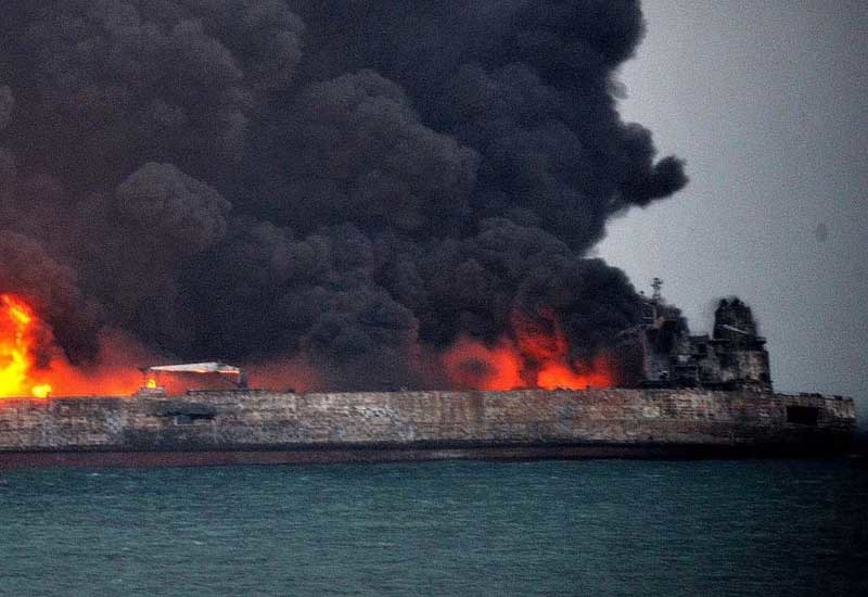 Oil tanker Sanchi on fire off the coast of China