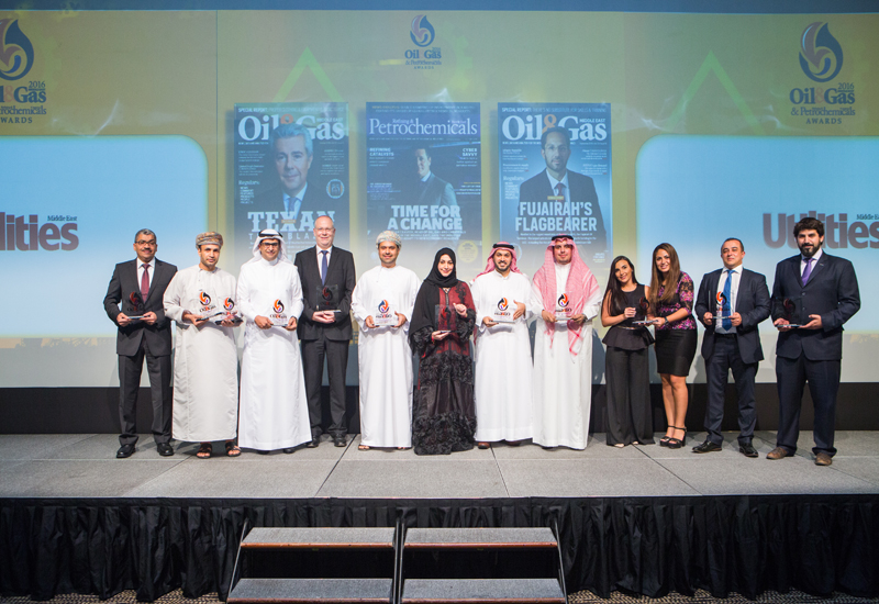 Winners of the Oil & Gas Middle East and Refining & Petrochemicals Middle East pose for a group photo in Abu Dhabi on October 5th.