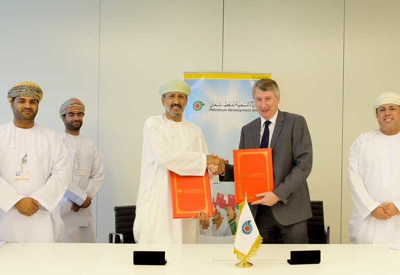 PDO Managing Director Raoul Restucci (second from right) after signing the compressor supply and servicing contracts with Omani firms.