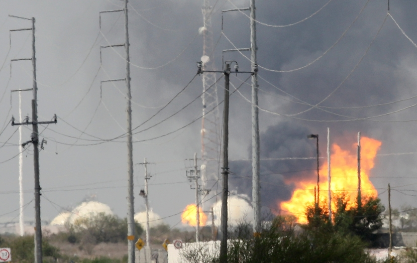 Fire at Pemex gas plant raged for two hours before being extinguished.