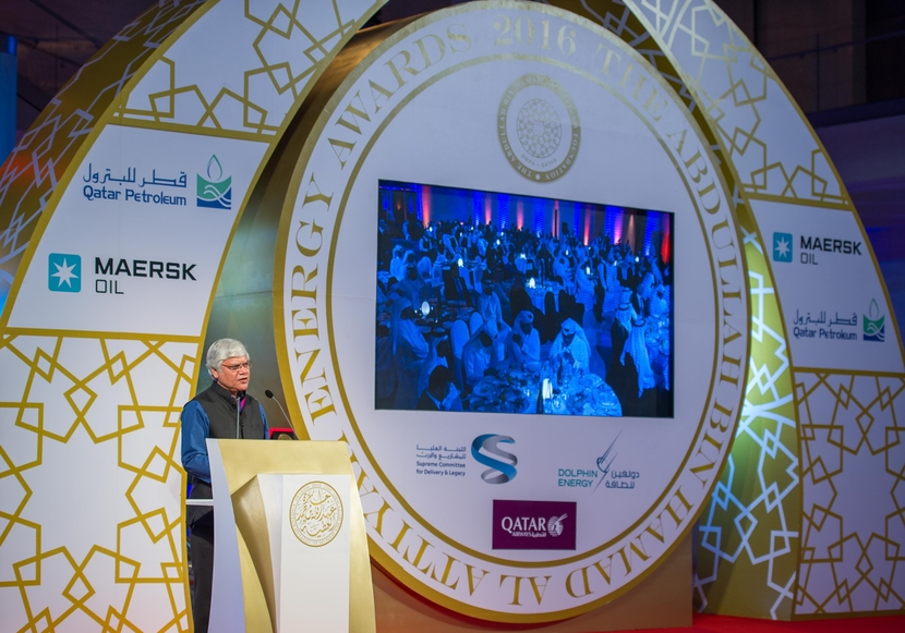 Narendra Taneja, chairman of the Energy Security Group and the Federation of Indian Chambers of Commerce and Industry, speaks at the awards in Doha on May 24.