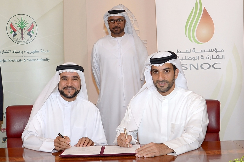 (Left to right) Dr Rashid Alleem, chairman of SEWA with Sheikh Sultan Bin Ahmed Al Qasimi, deputy chairman of the Supreme Petroleum Council and President of SNOC while signing the agreement in May.