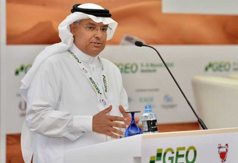 Mohammed Y Al-Qahtani, senior vice president, upstream, Saudi Aramco, giving the keynote speech at the 13th Middle East Geosciences Conference and Exhibition.