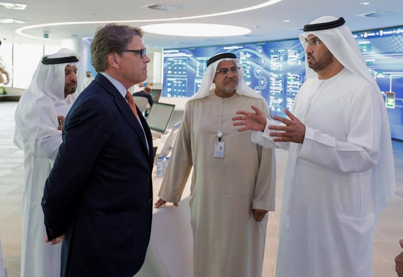 HE Dr Sultan Ahmed Al Jaber (right), UAE minister of state and ADNOC Group CEO, in discussion with United States secretary of energy Rick Perry (second from left).