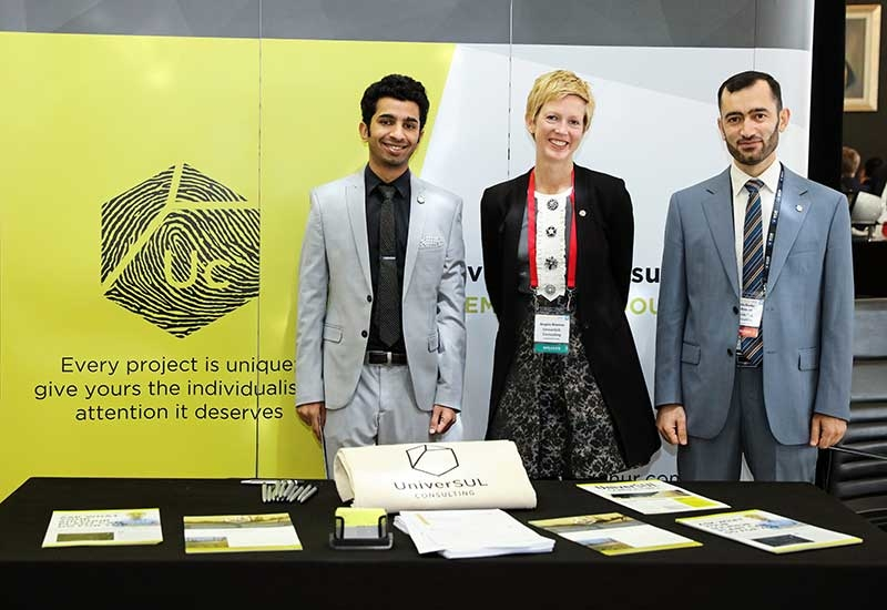 UniverSUL Consultings stand at the Middle East Sulphur Conference, with Angie Slavens centre.