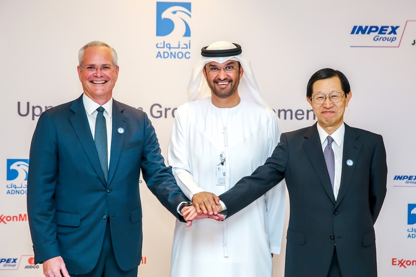Darren W Woods, chairman and CEO of Exxon Mobil Corporation, Sultan Ahmed Al Jaber, UAE Minister of State and group CEO of ADNOC, and Toshiaki Kitamura, president and CEO of INPEX, at the signing ceremony in Abu Dhabi on November 14th.