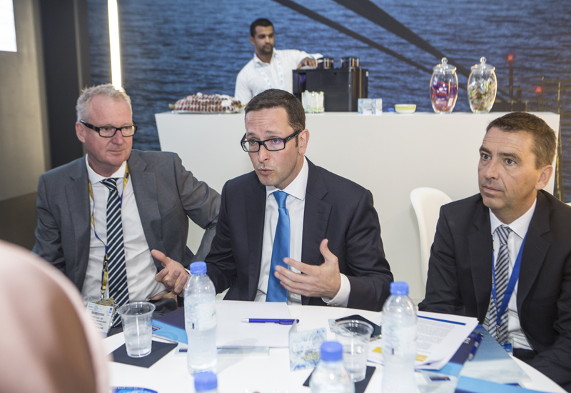 A file photo of Wintershall chairman and CEO Mario Mehren speaking to journalists during ADIPEC 2015 in Abu Dhabi. (ITP Photography/Grace Guino)