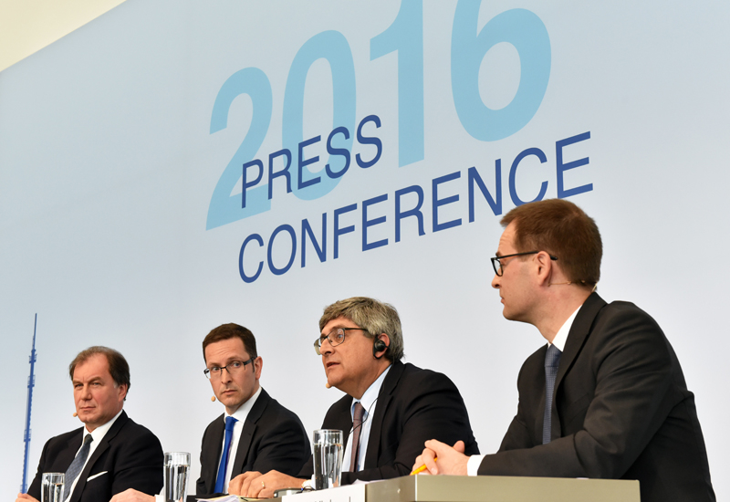 Wintershall's management team addressing the press conference in Kassel, Germany on April 7.