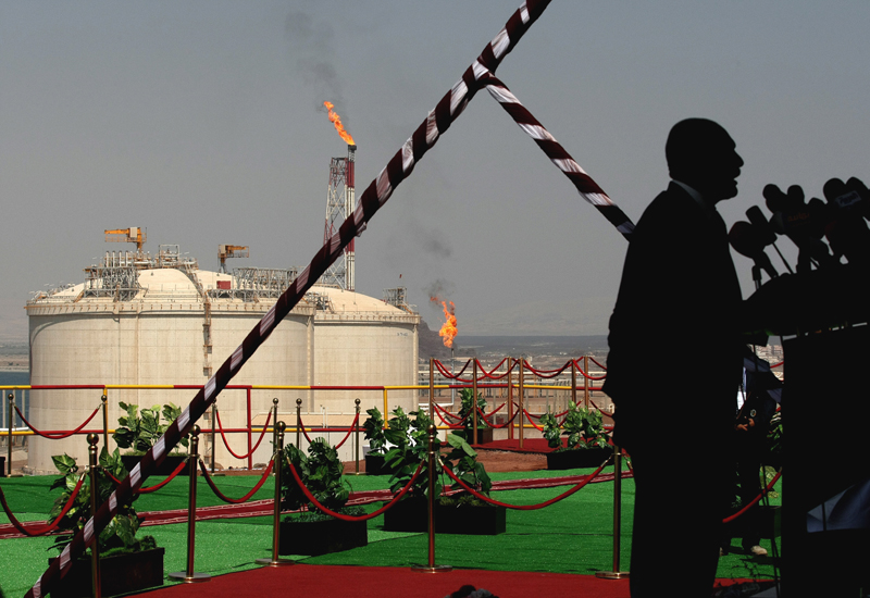 The Balhaf LNG facility - seen here with former President Saleh in the foreground - suffered only one other minor disruption in October last year. GET