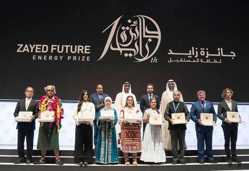His Highness Sheikh Mohamed bin Zayed Al Nahyan with the nine winners of Zayed Future Energy Prize.