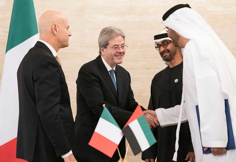 Italian Premier Paolo Gentiloni at the signing ceremony in Abu Dhabi.