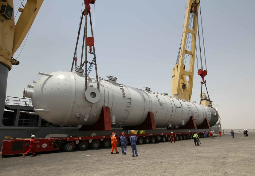 The 1,350-tonne absorbers will be transported to the Shah gas field near Liwa in Abu Dhabi.