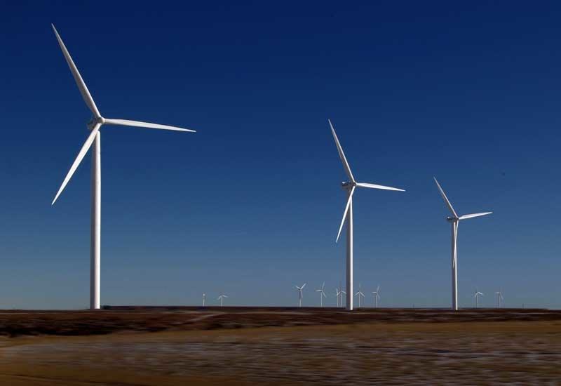 Wind turbines for illustrative purposes only