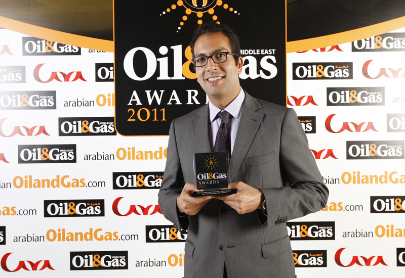RAK Petroleum Director Amir Ali Handjani accepting the award on behalf of Bijan Mossavar-Rahmani.