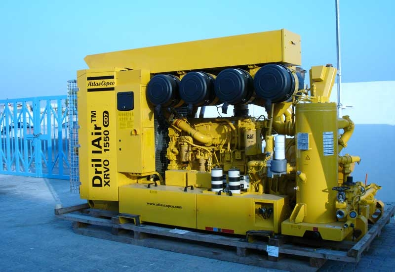 An Atlas Copco compressor typically used for onshore drilling on display at the opening event.