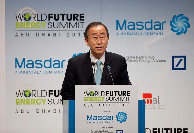 UN Secretary-General Ban Ki-Moon addresses the opening ceremony of the World Future Energy Summit in Abu Dhabi.