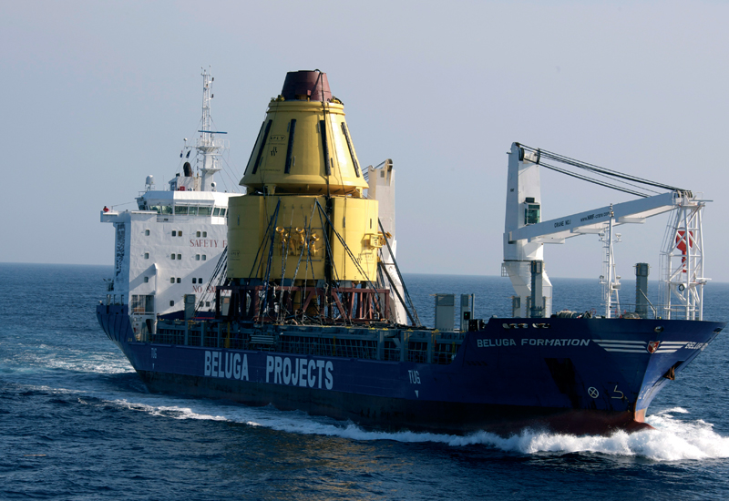 This buoy was so tall it restricted vision from the special heavy lifter vessel's bridge.